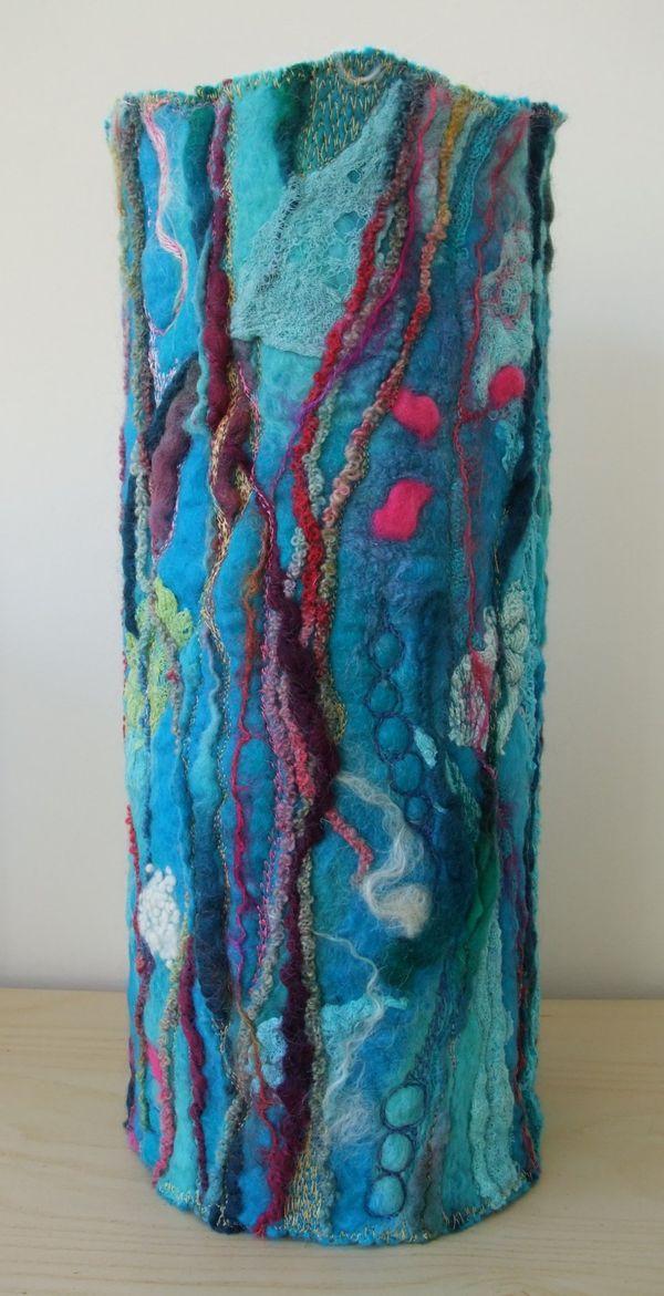 Machine Embroidered Felt Vase Wraps Rosiepink