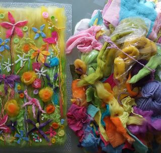 Making felt art - spring flowers