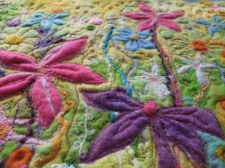 Section of Felt Stitched Flowers Pic 2
