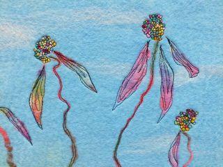 Dropping petals in felt