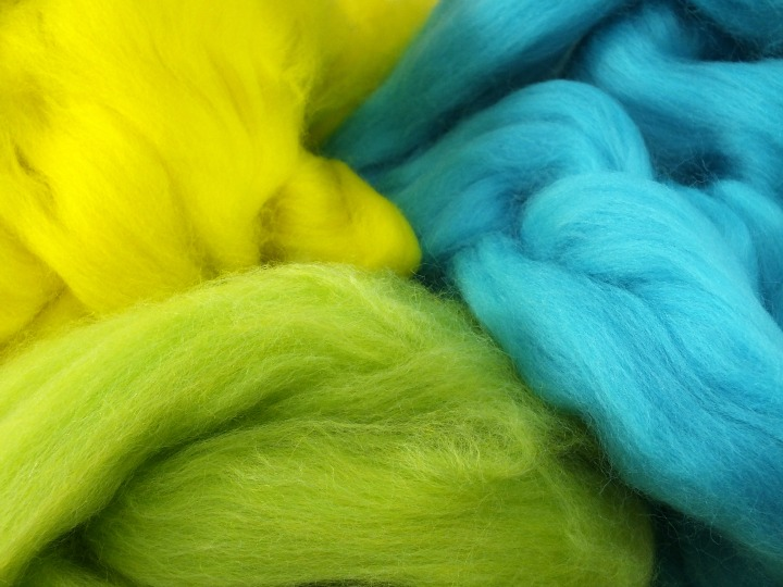 3 complimentary colours of merino wool