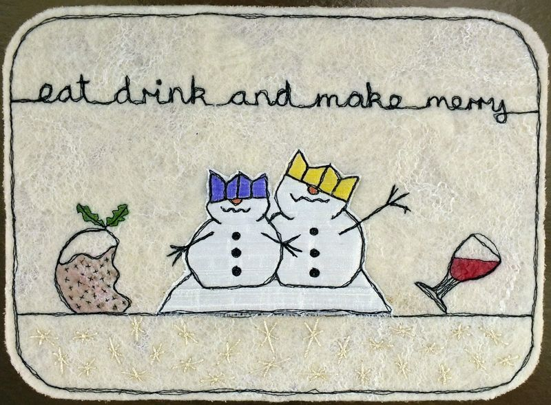 Snowpeople with paper hats placemat