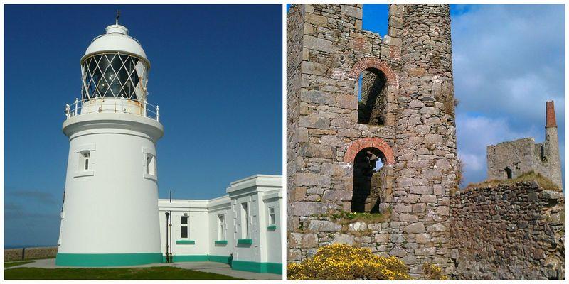 Lighthouse and mine chimney