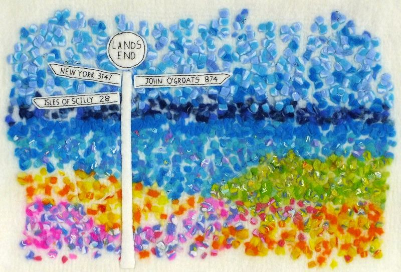 Fingerpost Land's End Textured Felt Art