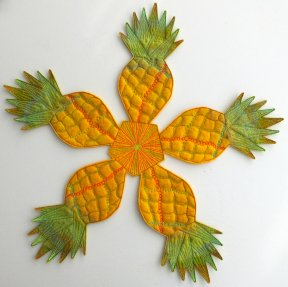 Wet_Felted_Pineapple_Bowl_Flattened_As_Table_Centre