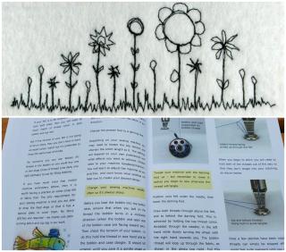 Free motion embroidery on handmade felt