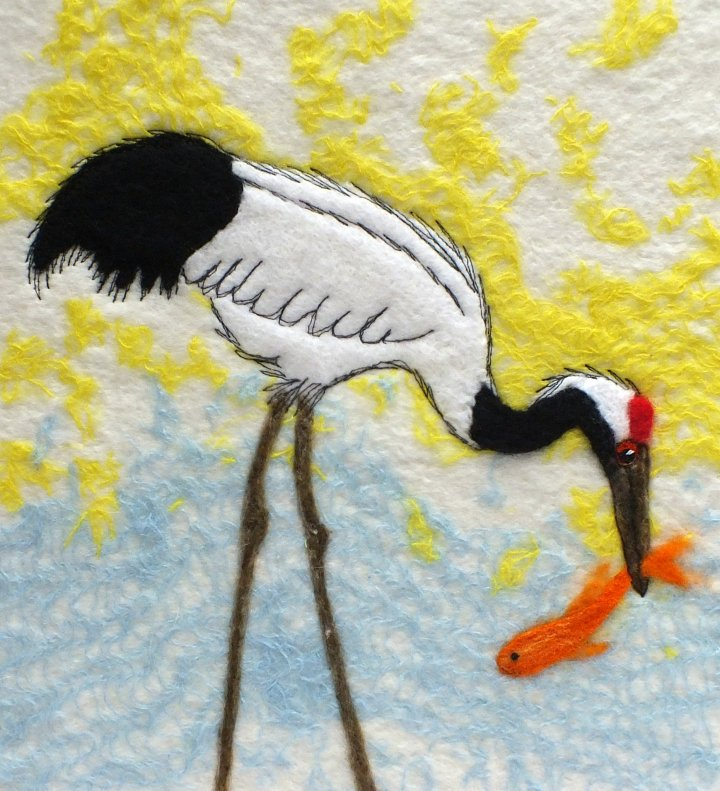 Japanese Crane - wet felt and stitch
