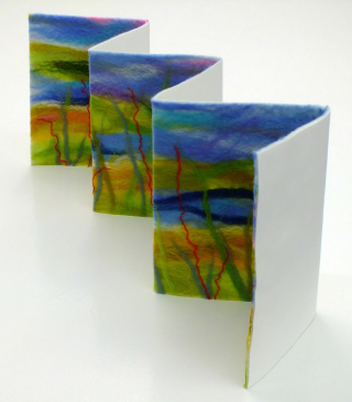 Angled view felted free standing art