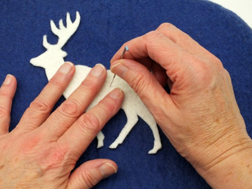 Tacking with felting needle