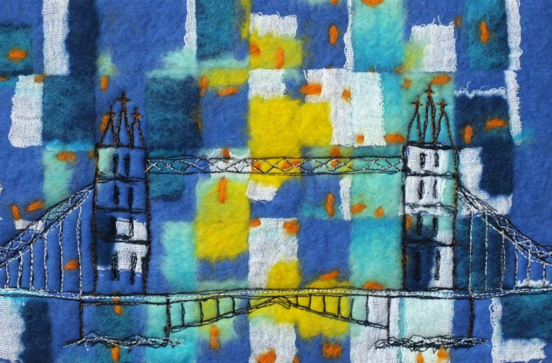 Felt and Stitched Sketch of Tower Bridge