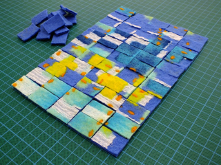Felt cut into rectangles using rotary cutter